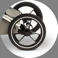 Сами колеса изготовлены из современного материала EVA, который не только очень прочен, но и выдерживает температуру от - 50 до +50 градусов.