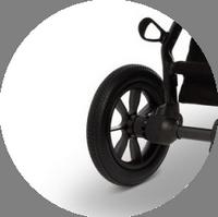 обладает очень мягким ходом, подвеска на передних и задних колёсах скроет все дорожные несовершенства и малыша ничего не будет беспокоить в пути.