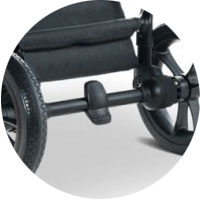 Педаль тормоза фиксирует коляску даже на покатой поверхности